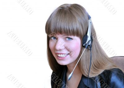 Girl operator with headset over white.