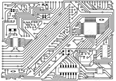 Hi-tech black and white industrial electronic background