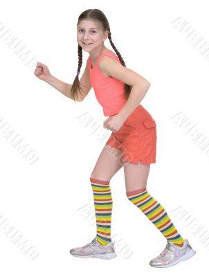 Girl in a T-shirt runs