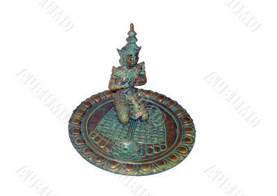 Bronze plate with a figurine of the Indian goddess for aromas