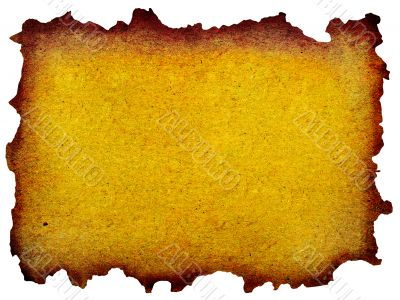 grunge mint yellow paper isolated over white background