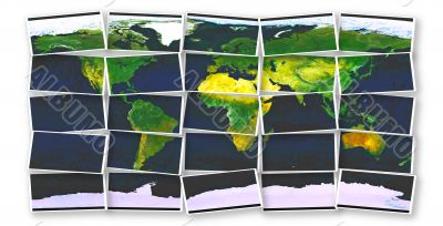 world map made from pieces over white