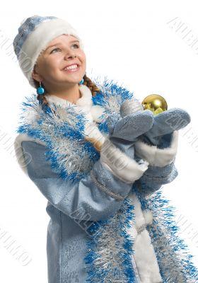christmas girl with decoration ball