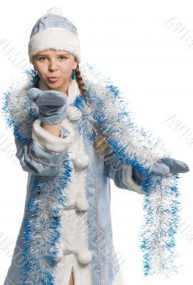 Snow girl sending air kiss