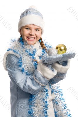 Snow girl with christmas-tree decorations