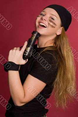 laughing girl in suit of pirate