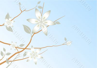 blue sky abstract floral background