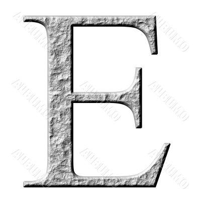 3D Stone Greek Letter Epsilon