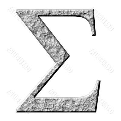 3D Stone Greek Letter Sigma