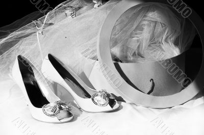 Wedding shoes, veil and box