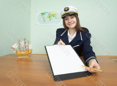 Girl in a sea uniform at office with tablet