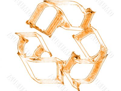 Rust processing symbol on white a background.