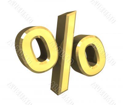 percent symbol in gold - 3d made