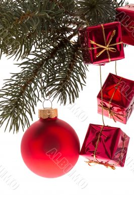 Red Christmas ball with fir branch
