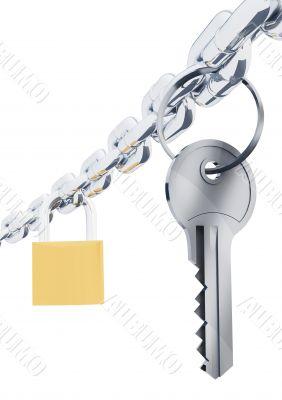 Chain key and padlock
