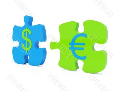 Dollar euro jigsaw
