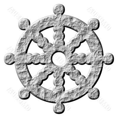 3D Stone Buddhism Symbol Wheel of Dharma