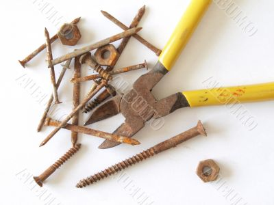 Rusty tools and fixings.