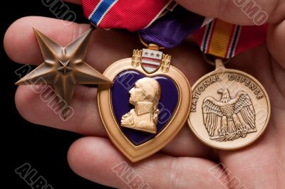Man Holding Purple Heart, Bronze and National Defense War Medals