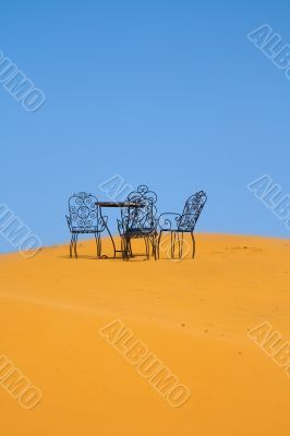 romantic place to sit on the Sahara desert
