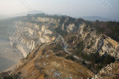 Highway near to an open-cast mine