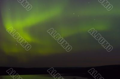 northern lights of green color
