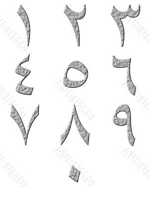 3D Stone Arab Numbers