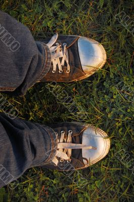 Gym shoes on a grass