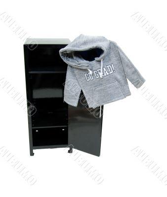 Graduate hoodie on locker