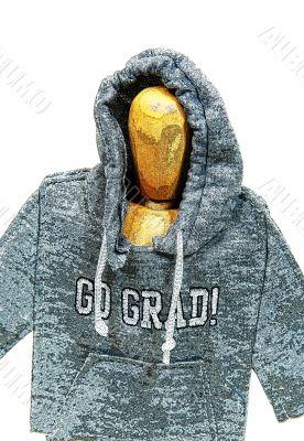 Graduate wearing grunge hoodie