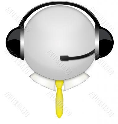 yellow tie headphone sign