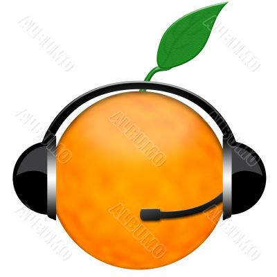 orange headphone sign