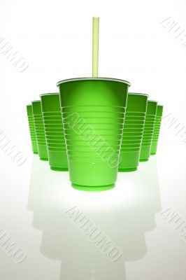 Green plastic cups w straw