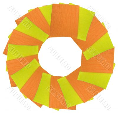 yellow and orange napkins circle isolated over white background