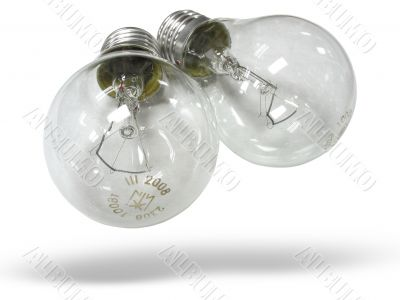 two bulb lamps isolated over white background