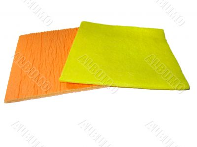 two yellow and orange napkins isolated over white background