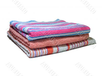 Three color towel isolated on white background