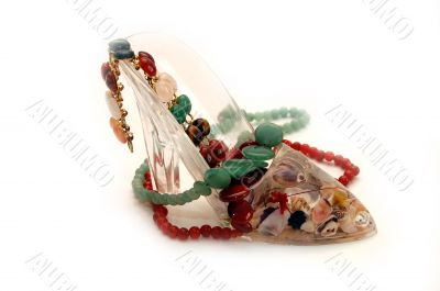 Souvenir - a shoe with a beads from jewels
