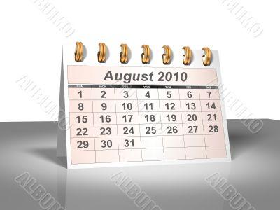 August 2010 Desktop Calendar.