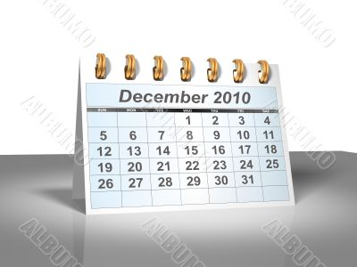 December 2010 Desktop Calendar.
