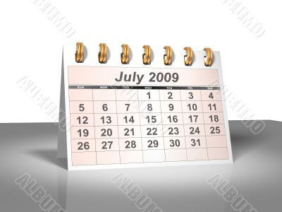 July 2009 Desktop Calendar.