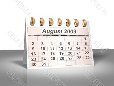 August 2009 Desktop Calendar.