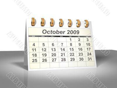 October 2009 Desktop Calendar.