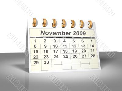 November 2009 Desktop Calendar.