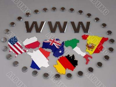 internet concept wwww several countries