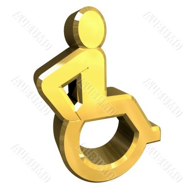 Universal wheelchair symbol in gold