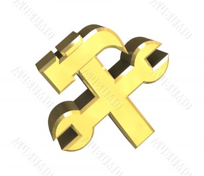 industrial working symbol in gold