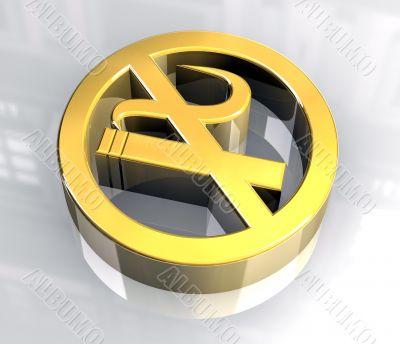 No smoking icon symbol in gold
