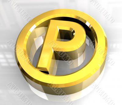 parking symbol in gold