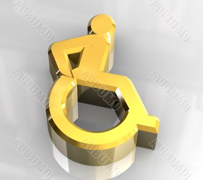 Universal wheelchair symbol in gold 3d